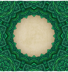 Green frame floral ornament old background vector