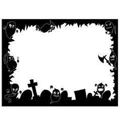 Halloween frame with cute ghost silhouettes vector