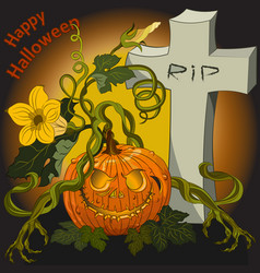 halloween scary pumpkins on the cemetery at night vector image