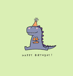 Hand drawn birthday card with cartoon dinosaur vector