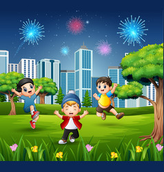 Happy children playing and jumping in the city par vector
