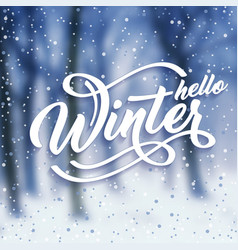 hello winter handlettering inscription white text vector image