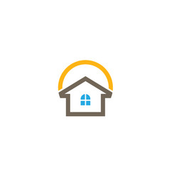 home care logo with houses and big sun for logo vector image