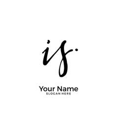 I s is initial logo signature handwriting vector