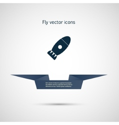 Icon flat bomb and ribbon for your text vector image
