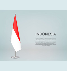 Indonesia hanging flag on stand template vector