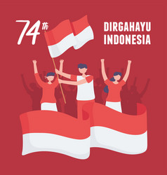 Indonesia independence card vector