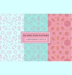 Islamic pattern thin line icons on white vector