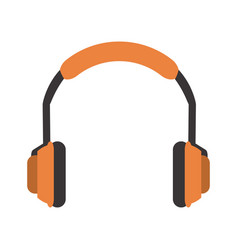 Isolated orange headphones icon imag vector