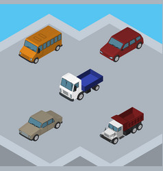 Isometric car set of auto freight lorry and vector
