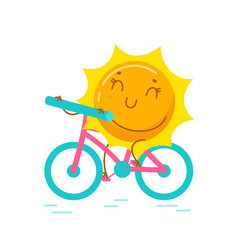 Kawaii sun personage riding bicycle isolated vector