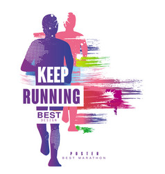 Keep running best gesign colorful poster template vector
