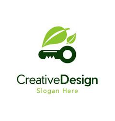 Key leaf growth creative naturally logo vector