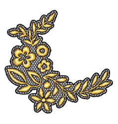 Lace decorative element with gold flowers vector