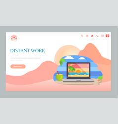 Laptop on sand distant work on beach web vector