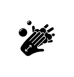 Lathering back of hands black glyph icon vector