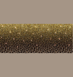 luxury gold glitter banner with leopard pattern vector image