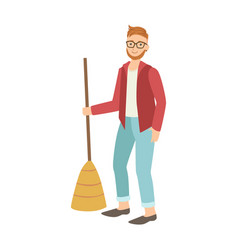 Man with broom sweeping the floor cartoon adult vector