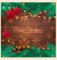 merry christmas and happy new year wood vector image