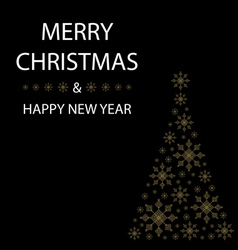 Merry Christmas card snowflakes christmas tree vector