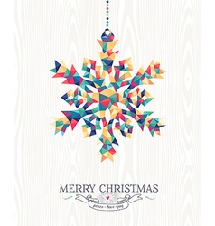 Merry christmas hipster triangle snowflake wood vector image