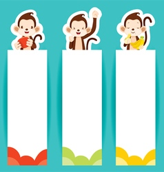 Monkey With Banners Set vector image