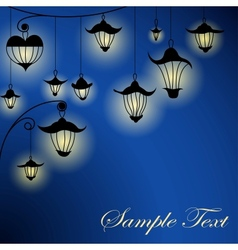 Night background with lanterns vector