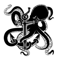 octopus with anchor black sign vector image