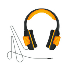 Orange and black headphones with cable accessory vector