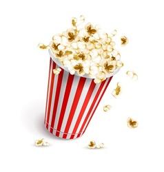 Paper glass full popcorn vector