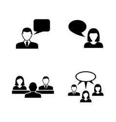 people talking simple related icons vector image