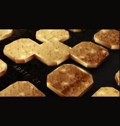 Perspective 3d gold geometric shape on dark vector
