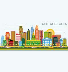 Philadelphia skyline with color buildings and vector