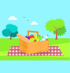 Picnic basket with fresh vegetables and fruits vector