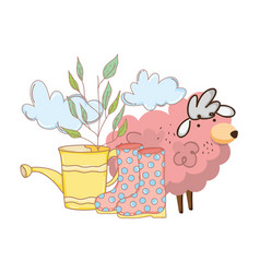 pink sheep farm with sprinkler and boots vector image