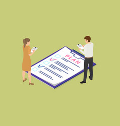 Plan composition by man and woman working together vector