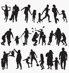 playing outside silhouettes vector image