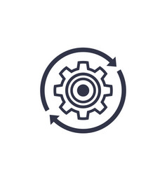 Production cycle icon with cogwheel vector