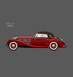 red retro car vintage cabriolet vector image