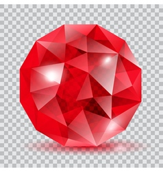 Red translucent crystal vector image