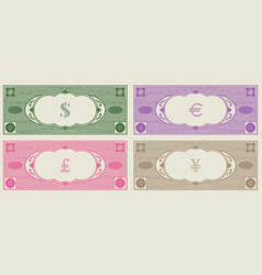 Sample banknotes without face value with signs vector