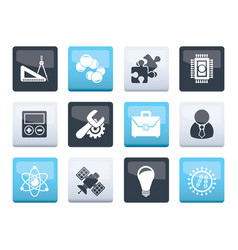 Science and research icons over color background vector