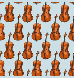 seamless pattern cello musical instrument vector image