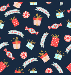 Seamless pattern for valentines day with cute vector