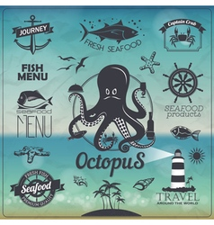 Set of Vintage seafood fish typography design vector