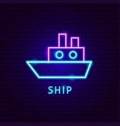 Ship neon label vector