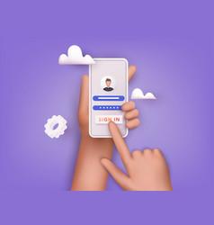 Sign in to online account on smartphone app user vector