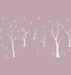 silhouettes of trees with no leaves on pink vector image