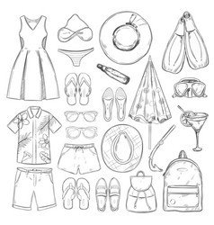 sketch monochrome summer vacation elements set vector image