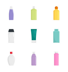 skin care bottle icon set flat style vector image